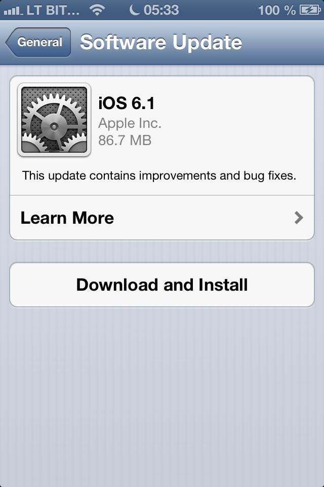 iOS 6.0.1 atnaujinimo ekranas
