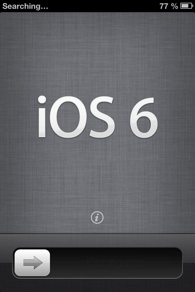 iOS 6 atnaujinimo ekranas