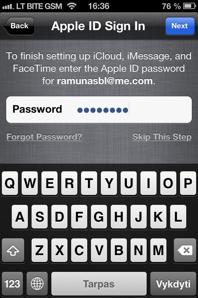 iOS 6.1 atnaujinimas - iCloud slaptažodis