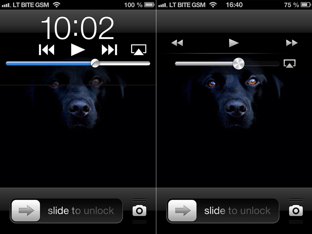iOS601 vs 61 užrakintas ekranas
