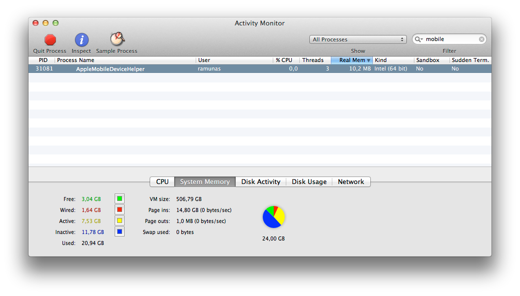 Activity Monitor iTunes Wi-Fi sinchronizavimo procesas
