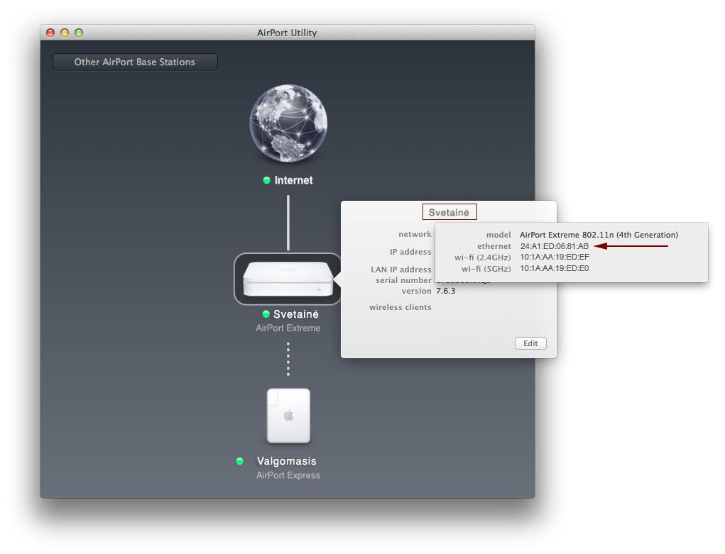 Airport Utility 6 - WAN MAC adresas