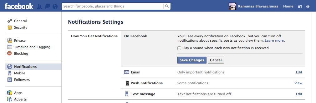 Facebook pranešimų garso atjungimas
