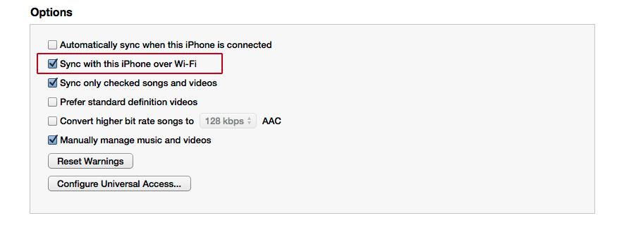 iTunes pažymėti Wi-Fi sinchronizaciją