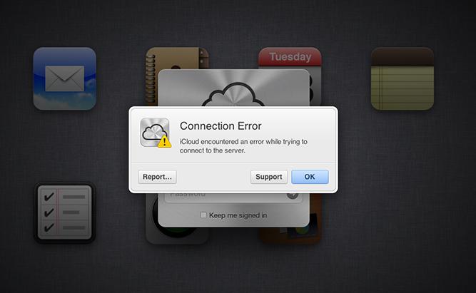 iCloud neveikia