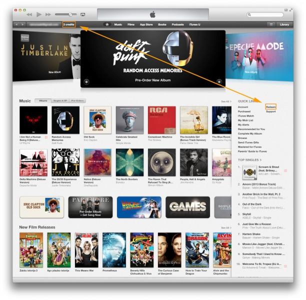 iTunes Kreditai