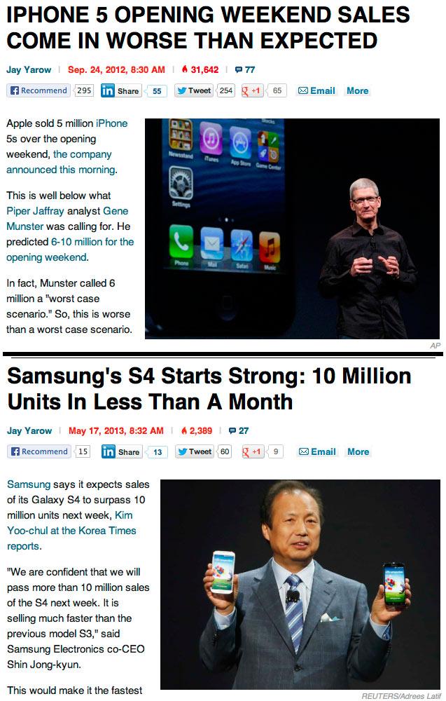 Business Insider straipsniai apie Apple ir Samsung telefonų pardavimo rezultatus