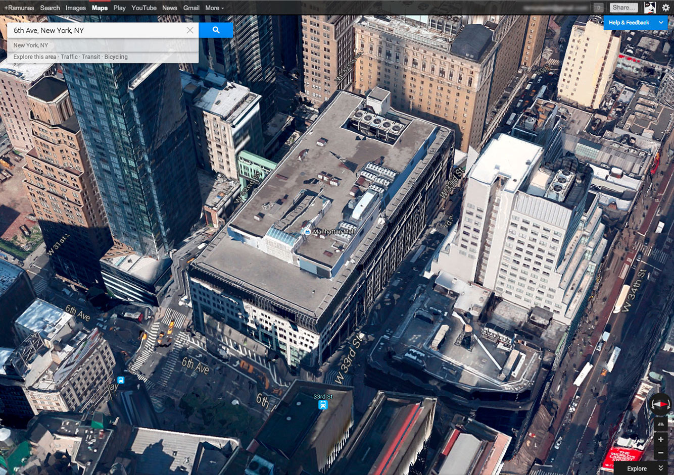 Google 3D žemėlapiai - 6a aveniu Niujorke