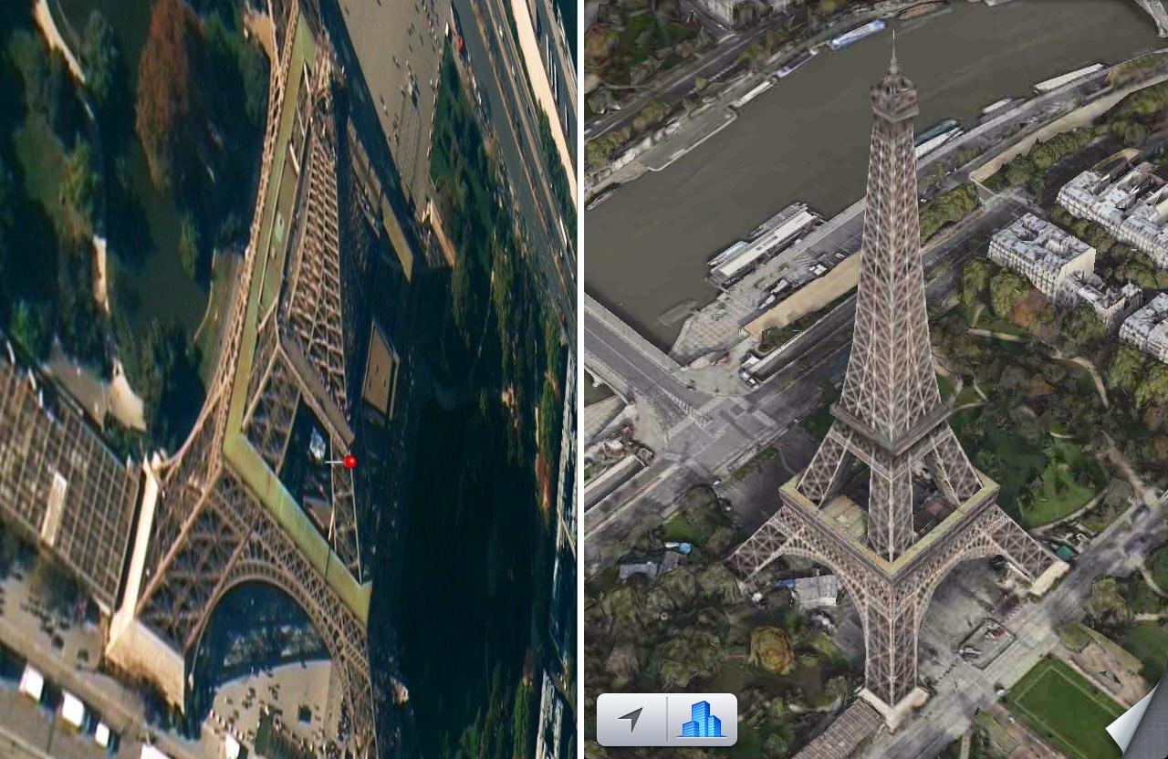 Paryžius iOS Maps aplikacijoje anksčiau ir dabar
