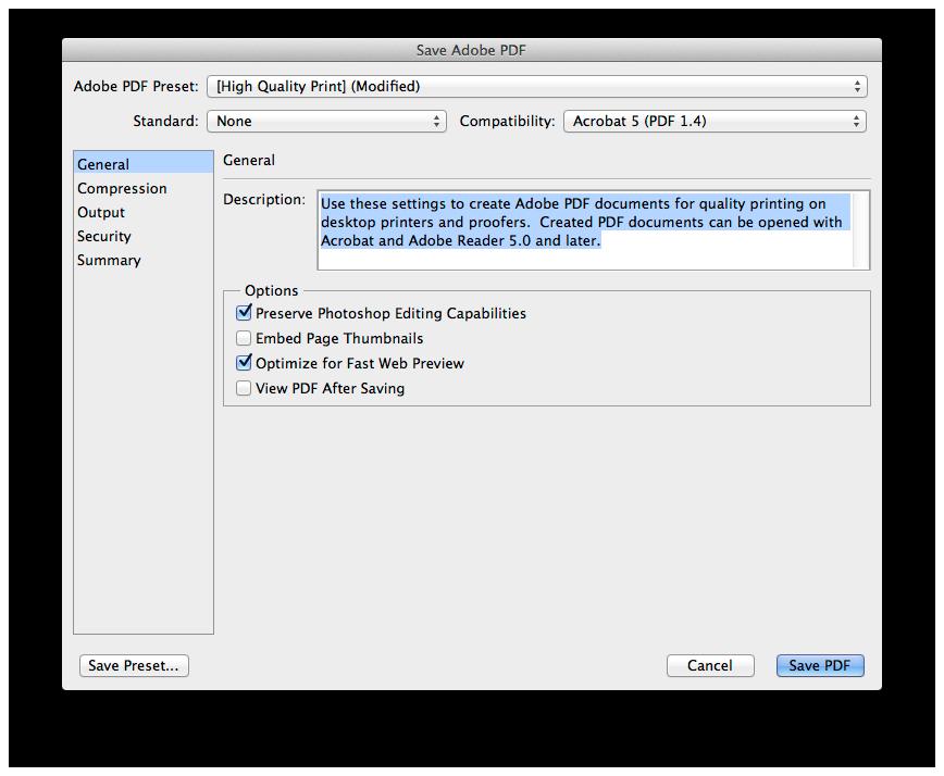 Adobe Photoshop atidarytas PSD failo išsaugojimas kaip PDF