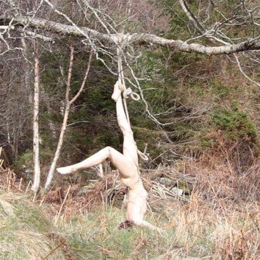 Norvegų menininkė nuoga užstrigo medyje
